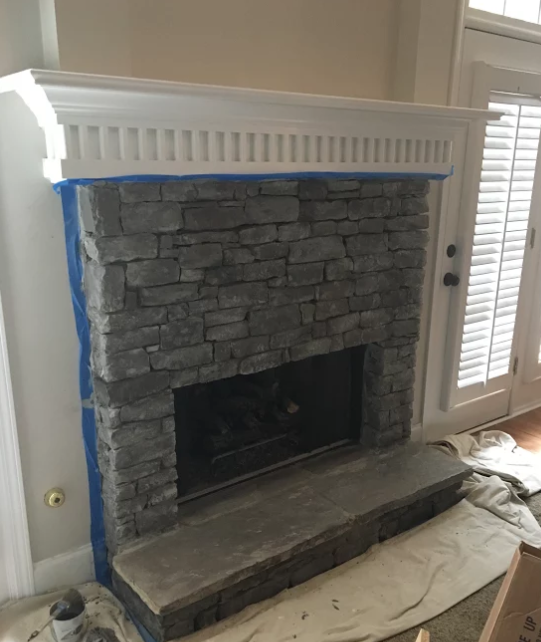 Gray, DIY Painted Stone Fireplace