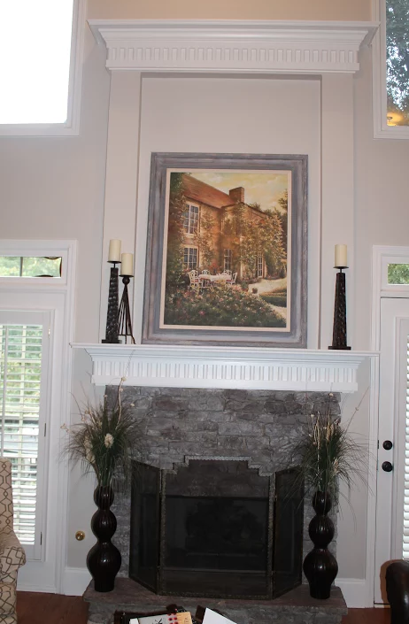 Gray Painted Fireplace Decorated
