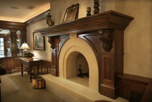 Large wooden fireplace