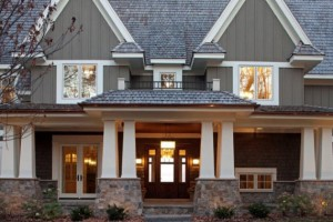 Home Exterior Painted Dark Gray with White Molding