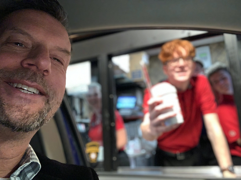 Scott at fast food drive through