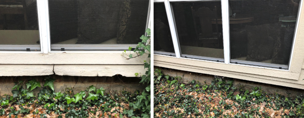 Before and after wood rot repair on a window