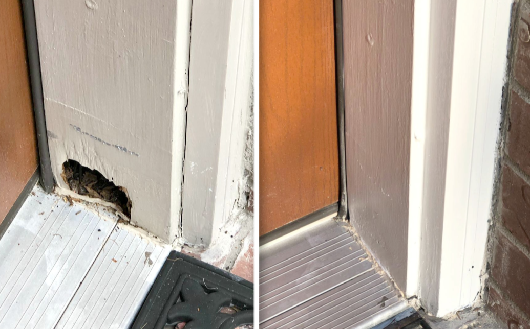 Before and after wood rot repair on a door frame